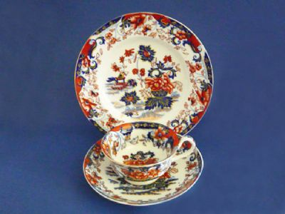 Early 'Amherst Japan' Cup, Saucer and Plate c1840 (Sold)